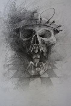 by JerryD Skull Sketch, Tattoo Artists, Artworks, Art Pieces