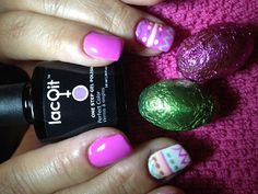 LacQit fun ,easy nail art, just paint on your design and cure for 30 seconds! Done!  Happy Easter!!