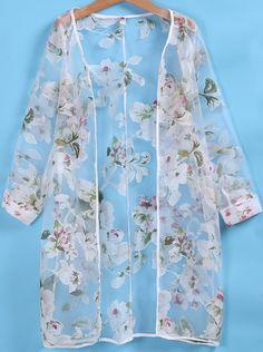 Long Sleeve Florals Organza Coat