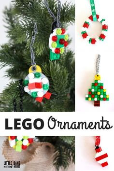 If you have a house full of LEGO, you can't have a Christmas tree without a few simple to make LEGO Christmas ornaments! Check out our LEGO ornament ideas. Lego Christmas Ornaments, Homemade Christmas Decorations, Colorful Christmas Tree, Handmade Christmas, Christmas Crafts, Christmas Ideas, Holiday Ideas, Preschool Christmas, Diy Ornaments