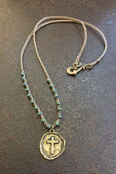 Knotted Boho Crochet Necklace, Cross Coin Pendant, Summer Festival Bohemian Beaded Jewelry by Two Silver Sisters from Two Silver Sisters. Saved to Two.