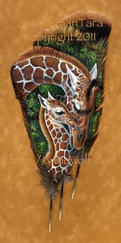 Giraffe Mother and Calf Feather Print : Maman girafe et son petit Feather Print Feather Painting, Feather Art, Tole Painting, Painting Prints, Artwork Prints, Turkey Feathers, Bird Feathers, Painted Feathers, Painted Pony