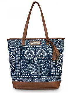 """Owl"" Tote Handbag by Loungefly (Navy/White)  W: 16"" X H: 14"" X D: 5"""