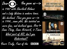 Love CBS most of the time, but in the case of Sherlock... it's BBC all the way.