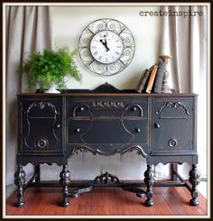 createinspire: Antique Buffet in Black. love this renovation on a piece that was likely destined for the dump.