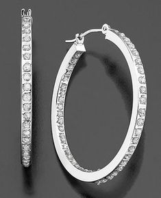 Jewelry Diamond : Have a pair of earrings like this and wear them alot. - Buy Me Diamond Diamond Hoop Earrings, Diamond Jewelry, Diamond Earrings, Diamond Bracelets, Crystal Earrings, White Gold Hoops, White Gold Diamonds, Silver Hoops, Silver Ring