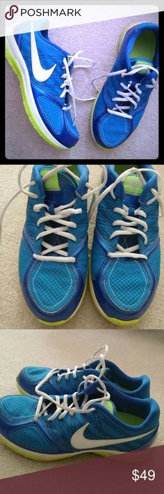 HOST PICK Nike blue/white/lime Like NEW, worn a hand full of times only. Nike Shoes Athletic Shoes