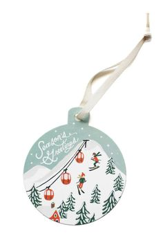 Snow Scene Ornament Card. Adorable.