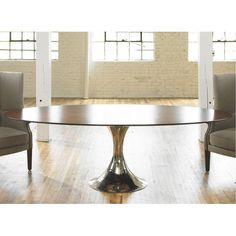Julian Chichester Dakota Oval Dining Table In Rosewood With A Hammered  Chrome Single Pedestal Base. (also Available With Glass Top) | Jana |  Pinterest ...
