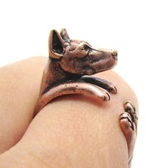 3D Doberman Puppy Dog Animal Wrap Ring in Copper - Sizes 5 to 9 $12.50 #doberman #dogs #puppies #rings #jewelry #loyalty #fierce