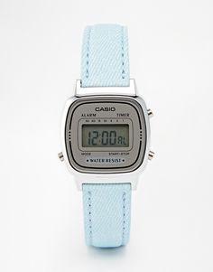 Reloj digital pequeño de cuero en azul pastel LA670WEL-2AEF de Casio