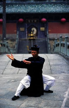 A Taoist Monk practices Tai Chi in the early morning at Wudang Shan Holy Mountain in Hubei province.