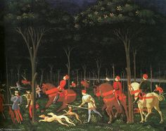 'le chasse dans le forêt(droite),1468, `ashmolean` musée' de Paolo Uccello (1397-1475, Italy)