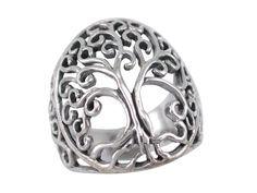 Sterling Silver Domed Tree Of Life Ring Tree Of Life Ring, Tree Of Life Jewelry, Butterfly Jewelry, Body Jewellery, Sterling Silver Jewelry, Rings For Men, Women Jewelry, Steel, Men Rings