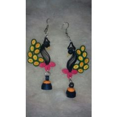 Multi Coloured Peacock hangings - light weight paper jewellery