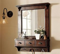 Wall-Mount Entryway Organizer Mirror #potterybarn