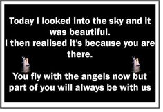 You fly with the angels now but part of you will always be with us.....   Grief. Mourning. Loss. Death. Rest in Peace