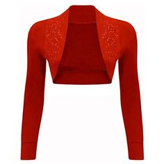 edcedf21c5 NEW Womens Beaded Long Sleeve Shrugs Sequin Bolero Crop Cardigan Top Red)  -- Click image for more details.