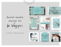 Blogger's social media starter kit by Golden Whimsy Studio on @creativemarket