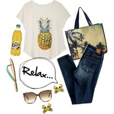 Pineapple Fun by underwater-city on Polyvore featuring American Eagle Outfitters, Nine West, Forever 21 and TOMS
