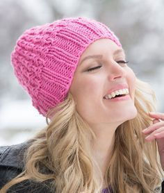 Comfy Cotton Candy Cap | Add a punch of color to your winter wardrobe with this beautiful knit hat pattern.