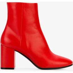 Balenciaga Red Ville Ankle Boots (4538070 PYG) ❤ liked on Polyvore featuring shoes, boots, ankle booties, leather ankle boots, red bootie, red ankle boots, balenciaga boots and red ankle booties