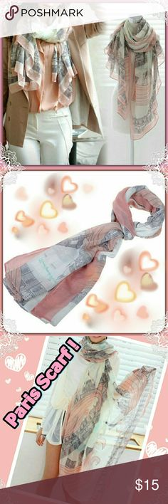 Paris Themed Summer Weight Scarf! Absolutely Beautiful! Paris Themed Boutique Scarf!  Change the look from a casual shorts & a plain Tee to a Chic outfit in a couple of seconds! Nice and light will not add anything but a extra touch if flair to your outfit! Also adorable wrapped around your waist to use as a swimsuit cover-up, or to throw over beautiful shoulders on a breezy Summer evening under the stars! Accessories Scarves & Wraps
