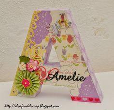 Letra A decorada con scrapbooking / Letter A