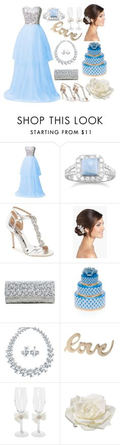 """""""Bridal Dreams"""" by dogzprinted ❤ liked on Polyvore featuring BillyTheTree, Badgley Mischka, Wedding Belles New York, Judith Leiber, Herend, Bling Jewelry, Ivy Lane Design and Allstate Floral"""