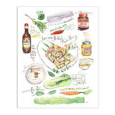 Summer rolls - Goi Cuon - Fresh spring rolls - Vietnamese food - Kitchen print - Watercolor print