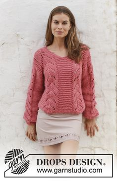 Spring Peach  - Knitted jumper with V-neck and lace pattern. Sizes S - XXXL. The piece is worked in 2 strands DROPS Air. Free knitted pattern DROPS 186-9