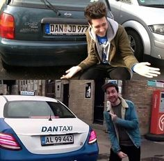 Some things never change. Pointing to his name on cars.