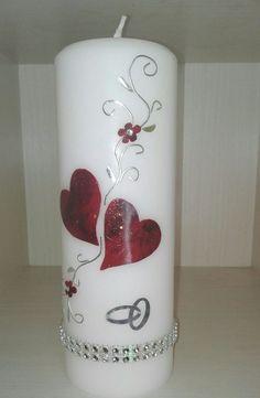 Hochzeitskerze Edel mit Strassteinen rot marmoriermit silber  gold 20x7cm