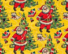 Vintage Christmas Wrapping Paper ~  Santa Kitten