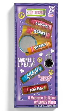 Lotta Luv 'Lip Locker' Magnetic Lip Balm (Set of (Girls) Chapstick Lip Balm, Eos Lip Balm, Lip Balms, Candy Lips, Love Lips, Lip Care, Face Care, Body Care, Lip Gloss