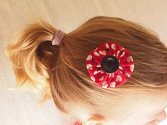 Hair clip: fabric and button - apple print red white by MagpieSailor, $6.50