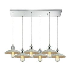 67051/6RC | Corrine 6 Light Pendant In Polished Chrome And White - 67051/6RC