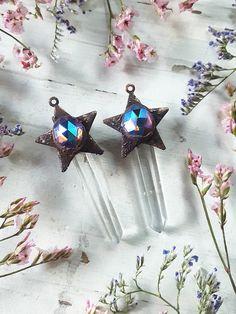 Quartz Pendant  Clear Quartz Necklace with Iridescent Star
