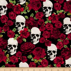 Timeless Treasures Skulls & Roses Black Fabric By The Yard