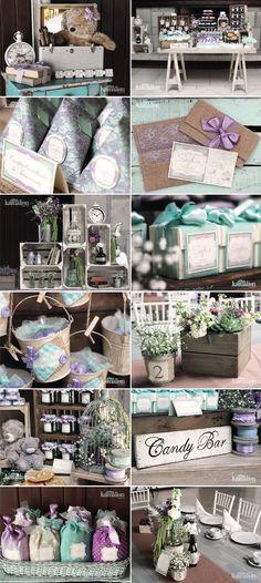www.kamalion.com.mx - Baby Shower / Vintage / Rustic / Menta & Morado / Mint & Purple: