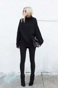 Love the entire black outfit look-- very classy. maybe add a broach/pin/ necklace for… - Love the entire black outfit look& very classy. maybe add a broach/pin/ necklace for a pop of color and an accesory Mode Outfits, Casual Outfits, Fashion Outfits, Womens Fashion, Fashion Trends, Trendy Fashion, Fashion Ideas, Fashion Clothes, Summer Outfits