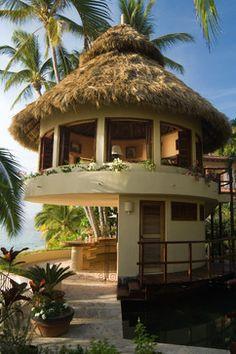 Tropical bungalow over outdoor bar/ kitchen Villa Design, Tropical Beach Houses, Tropical House Design, Tropical Pool, Tropical Style, Tropical Plants, Bamboo House, Pergola Garden, Gazebo