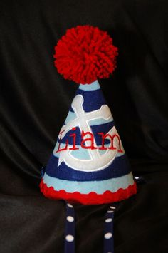 Stylish Birthday Party Hat  Preppy- Nautical - Sailor -Anchor- Navy- Party theme- Customized with NAME. $27.95, via Etsy.