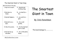 The Smartest Giant in Town - English ESL Worksheets for distance learning and physical classrooms Talk 4 Writing, Writing Skills, Julia Donaldson Books, Subtraction Worksheets, Reading Comprehension Worksheets, Language Activities, Eyfs, Word Problems