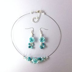 Turquoise and white pearls and polymer by FayeValentine on Zibbet