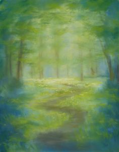 """Original art - impressionistic, soft pastel forest landscape painting, """"With Softer Steps"""", by Rebecca Prough. Available through Etsy.  Additional paintings can be viewed at www.rebeccaprough.com"""