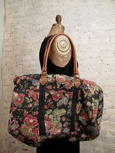 80s Floral Canvas Weekend Overnight  Bag by ChelseaGirlNYC on Etsy, $55.00