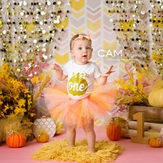 Fall Pumpkin First Birthday Photo Shoot.     first birthday   cake smash   photo   theme   ideas    messy   one   nj photographer   1st   one   unique   baby   contemporary   vibrant   colorful   fun   pink   orange   gold   girl