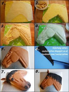 Horse Cake Tutorial Pferdekopf Torte Pferd Fondant Motivtorte - Back- und Dekoideen - Torten Fondant Cakes, Cupcake Cakes, Horse Cake, Fondant Horse, Pony Cake, Horse Birthday, Unicorn Birthday, Animal Cakes, Sculpted Cakes