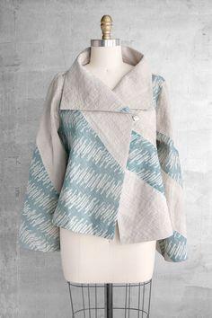 Cozy Jacket in Blue and Gray Diagonal Patchwork - Batik Blazer, Blouse Batik, Batik Dress, Batik Fashion, Hijab Fashion, Fashion Outfits, Womens Fashion, Mode Batik, Batik Kebaya
